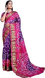 Indian Woman Bandhej Art Silk Zari weaving Festival Bandhani Printed Saree Blouse Sari 6332