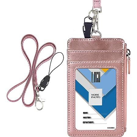Porte-badge avec fermeture Éclair, Wisdompro 2 Côtés imitation cuir Porte-badge avec 1 fenêtre pour carte d'identité, 4 emplacements pour cartes 50,8 cm PU cou/sangle Vertical Or Rose