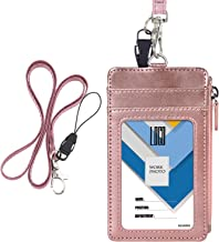 Badge Holder with Zip, Wisdompro Double Sided PU Leather ID Badge Card Holder Wallet Case with 5 Card Slots, 1 Side Zipper Pocket and 20 Inch Leather Neck Lanyard/Strap - Rose Gold (Vertical)