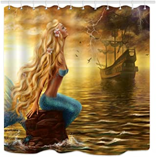 DYNH Mermaid Shower Curtain, Fairytale Girls and Pirate Ship on Ocean at Storm Rain, Waterproof Polyester Fabric Bathroom Decor 12PCSHooks 69X70IN