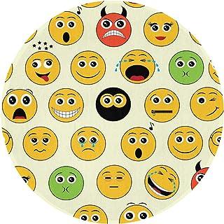 DIDIDI Smile Yellow Cute FUUNY Art Retro Non-Slip Round Circle Throw Area Ground Mat Accent Floor Party Bedroom Door Decorations Kitchen Bathroom Decor Welcome Entryway Rug Sign Ornament