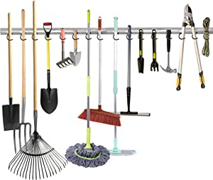 WALMANN All Metal 64 Inch Wall Mount Garage Garden Tool Organizer, Mop and Broom Holder, Yard Tool Storage Rack for Rake, Shovel, Spade, Mop, Broom, Wall Storage Organizer(4 Rails, 16 Hooks)