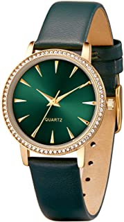 Quartz Fashion Wrist Watch for Women Diamond Case Leather Strap