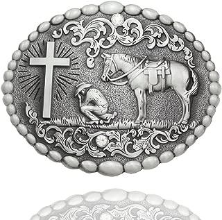 Q&Q Fashion Men Retro Silver Western Cowboy Prayer Cross Horse Oval Concho Scroll Belt Buckle