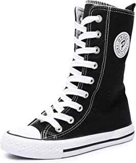 UBELLA Boy's Girl's Casual High Top Canvas Shoes Sneakers Kids Lace Up Zipper Up High Boots