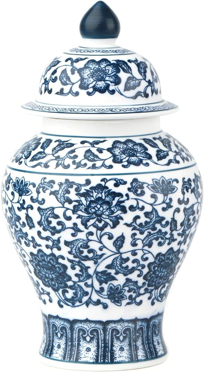 GaLouRo Vintage Blue and White Egg-Shell Porcelain Jar, Ideal Gift for Weddings, Party, Home Decor, Office Décor,9.8
