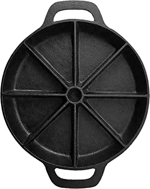 Pre-seasoned Cast Iron Wedge Cornbread Skillet - 9 inch diameter - Oven Safe Scone and Cornbread Pan for 8 Wedge Shaped Bakes