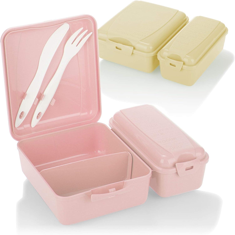 COM-FOUR® 2x fiambrera con dos compartimentos separados, fiambrera, fiambrera para llevar, con cubiertos, cuchillo y tenedor en la tapa (2 piezas - beige rosa)
