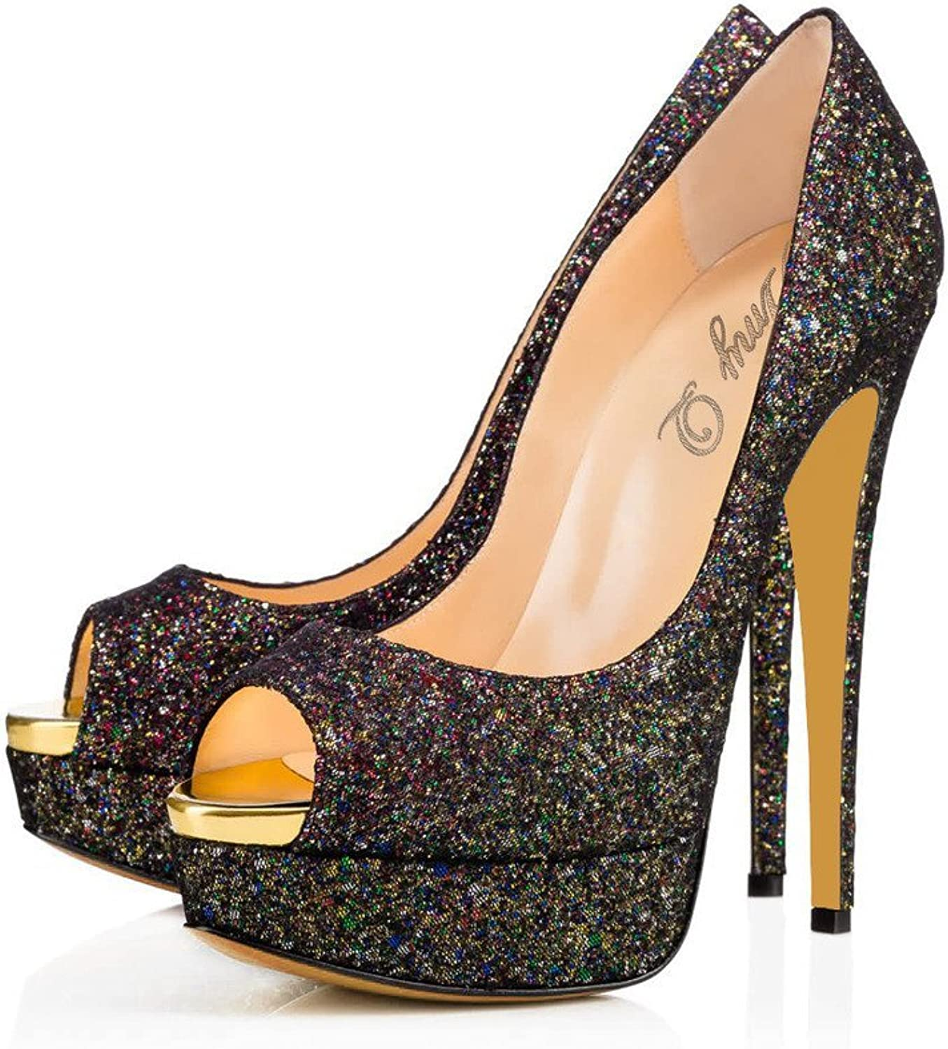 Amy Q Glitters Peep Toe High Heel Blackmps Big Size Handmade Platform shoes for Party Dress
