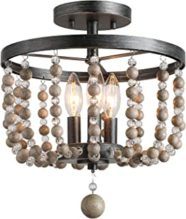 "LALUZ 3-Light Beaded Semi Flush Mount Ceiling Light, Natural Wood Beads, Painted Finish, 12 D"" x 13.6"" H"