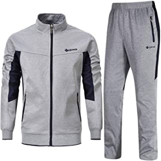 YSENTO Mens Full Tracksuits Jogging Bottoms Gym Sweat Suits Stand Collar Sport Jacket Pants