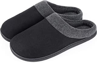 HomeIdeas Men's Woolen Fabric Memory Foam Anti-Slip House Slippers, Autumn Winter Breathable Indoor Shoes