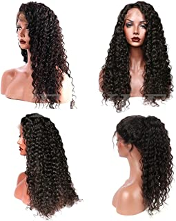 Suerkeep Water Wave Human Hair Wigs Pre-Plucked 150% Density Glueless Remy Brazilian Lace Front Wigs with Baby Hair Natural Hairline (16inch, Natural Color)
