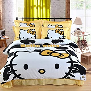 Warm Embrace Kids Bedding Set 100% Natural Cotton Girls Bed in a Bag Hello Kitty,Duvet/Comforter Cover and Pillowcase and Fitted Sheet and Comforter,Twin Size,4 Piece
