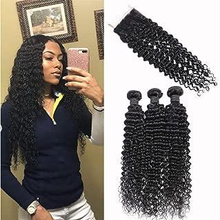 Brazilian Deep Wave Human Hair Bundles with Closure 20 22 24+18 Unprocessed Virgin Human Hair Deep Curly Bundles with Free Part Lace Closure Natural Black(20 22 24+18 Closure)