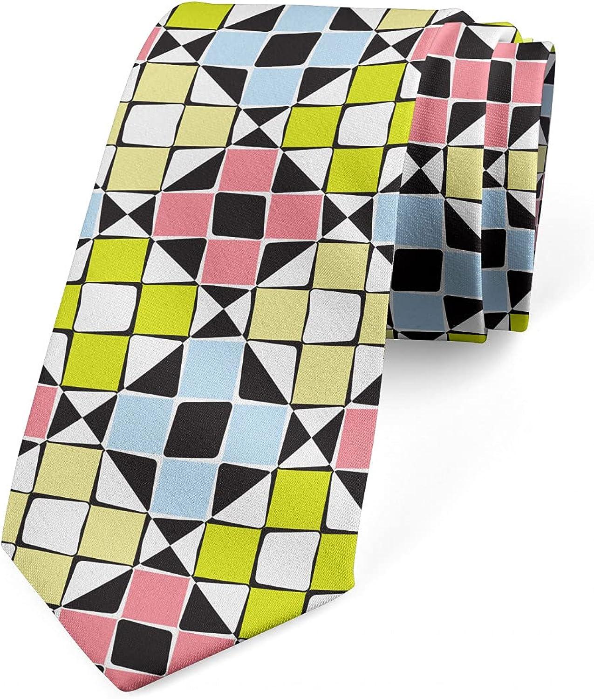Ambesonne Men's Tie, Modern Squares in Rhombus, 3.7