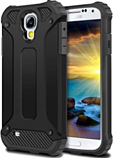 WOLLONY Galaxy S4 Case, Rugged Hybrid Dual Layer Hard Shell Armor Protective Back Case Shockproof Cover for Galaxy S4 Case - Slim Fit - Heavy Duty - Impact Resistant Bumper(Black)