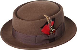 Men Fedora Hats with Feather Australia Wool Felt Pork Pie Trilby Hat Heisenberg