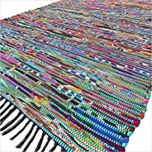 EYES OF INDIA - 5 X 8 ft Blue Colorful Chindi Woven Tassel Area Rag Rug Braided Bohemian Accent Boho Chic Decorative India...