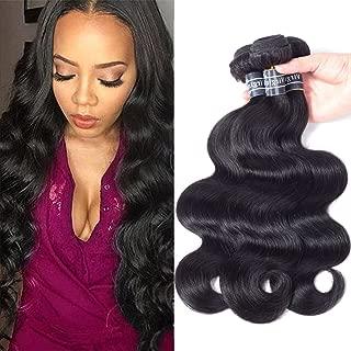 Amella Hair Brazilian Virgin Body Wave Weft 3 Bundles 300g(10 12 14 inch,Natural Black)8A 100% Unprocessed Brazilian Body Wave Human Hair Weave for Black Women
