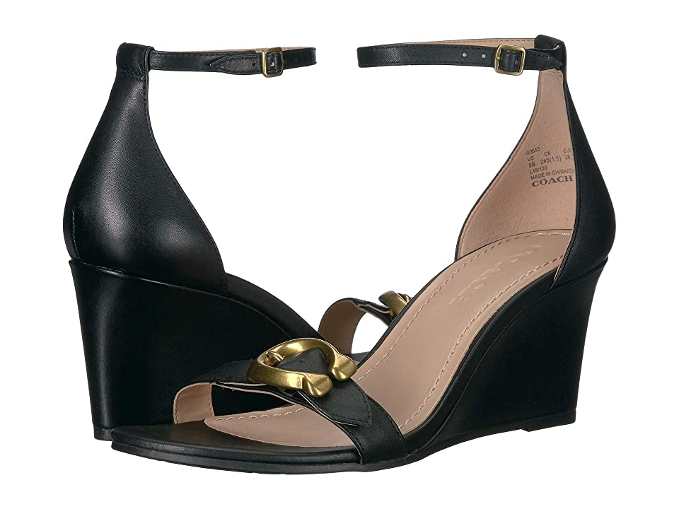 COACH Odetta Wedge with Signature Buckle (Black/Black Leather) Women