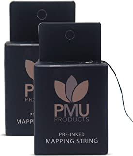 PMU THE ORIGINAL Pre-Inked Microblading String for Brow Mapping - Measuring Tool for Marking Symmetrical Eyebrows (Pack of 2)