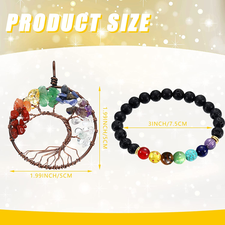 Nosiny 4 Pieces Healing Necklace Bracelet Set, 2 Pieces Healing Crystal Pendant Necklaces Reiki Healing Stones Necklace, 2 Pieces Lava Rock Bead Bracelets Natural Stone Bracelets