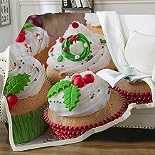 NuAnYI Couverture Polaire Noël Cupcakes Vert Dessert 150X150 Cm Couverture En Flanelle Épaisse Douce Et Confortable, Peut ...