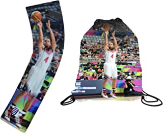 Forever Fanatics USA Curry #4 Basketball Fan Gift Set ✓ Curry #4 Picture Drawstring Backpack & Matching Compression Shooter Picture Arm Sleeve