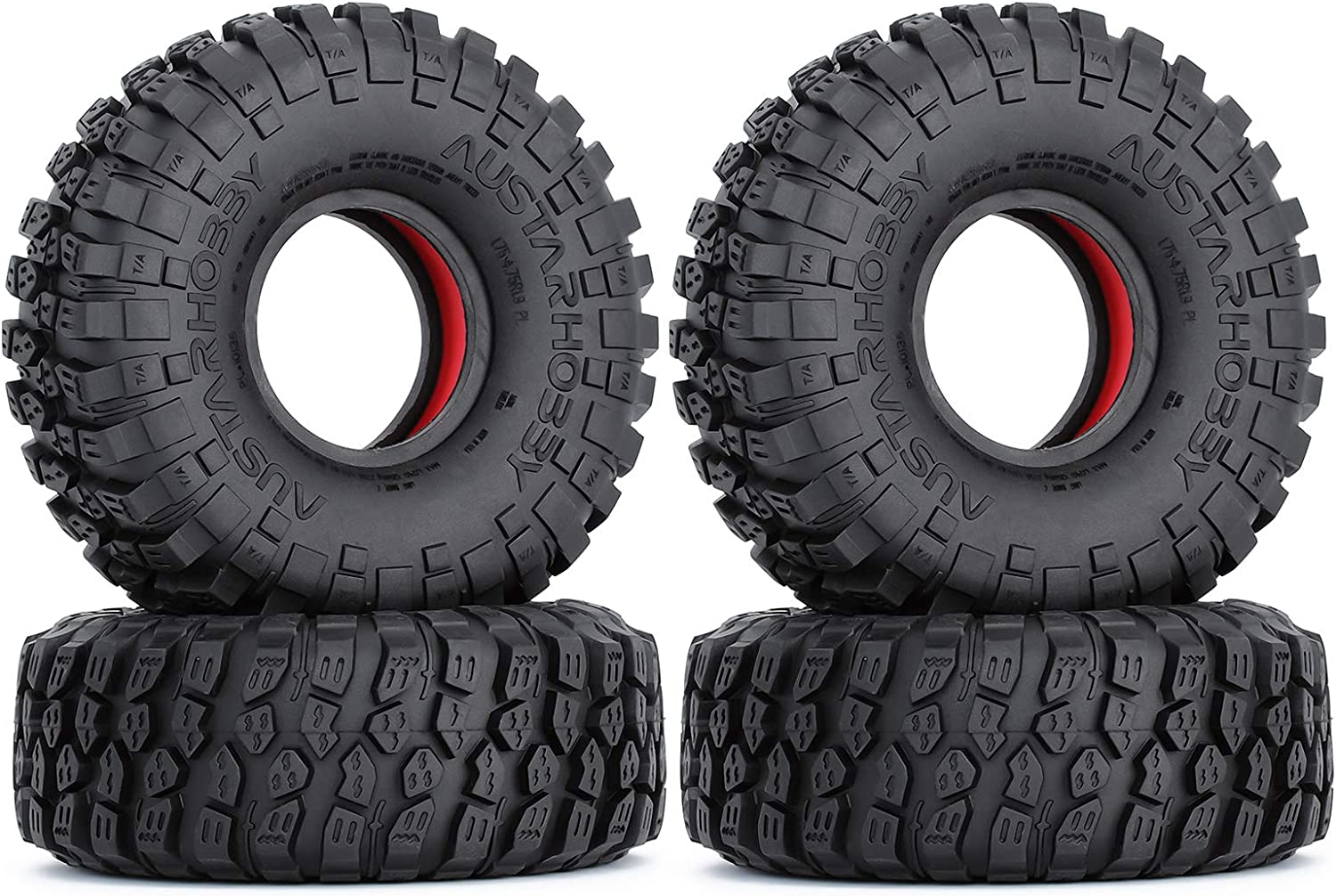INJORA RC 1.9 Tires Set with Dual Stage Soft Rubber Inner//Foam Outer Inserts for Axial SCX10 90046 TRX4 D90 Redcat Gen8 Remote Control Climber Car,4pcs