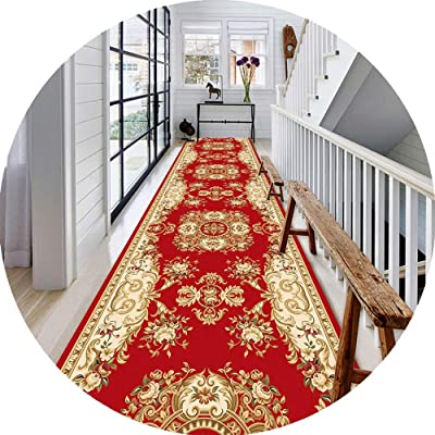 JIAJUAN Hallway Runner Rug Classic Floral Printed Collection Area Rugs with Anti-Slip Backing for Living Room Kitchen, 2 Colors (Color : Red, Size : 80x200cm)
