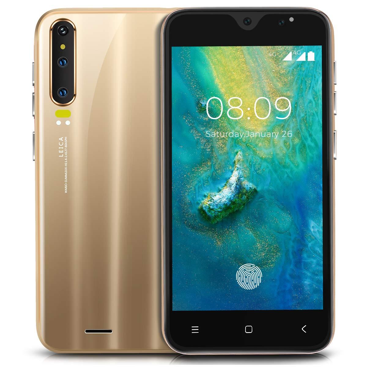 Móviles y Smartphones Libres,HyRich® Android GO Teléfono Móvil Libre (MTK6572, 5.0 Pantalla HD LCD, 1GB RAM+4GB ROM, 5.0MP Cámaras, Huella Dactilar, Dual SIM) (P30-Oro): Amazon.es: Electrónica