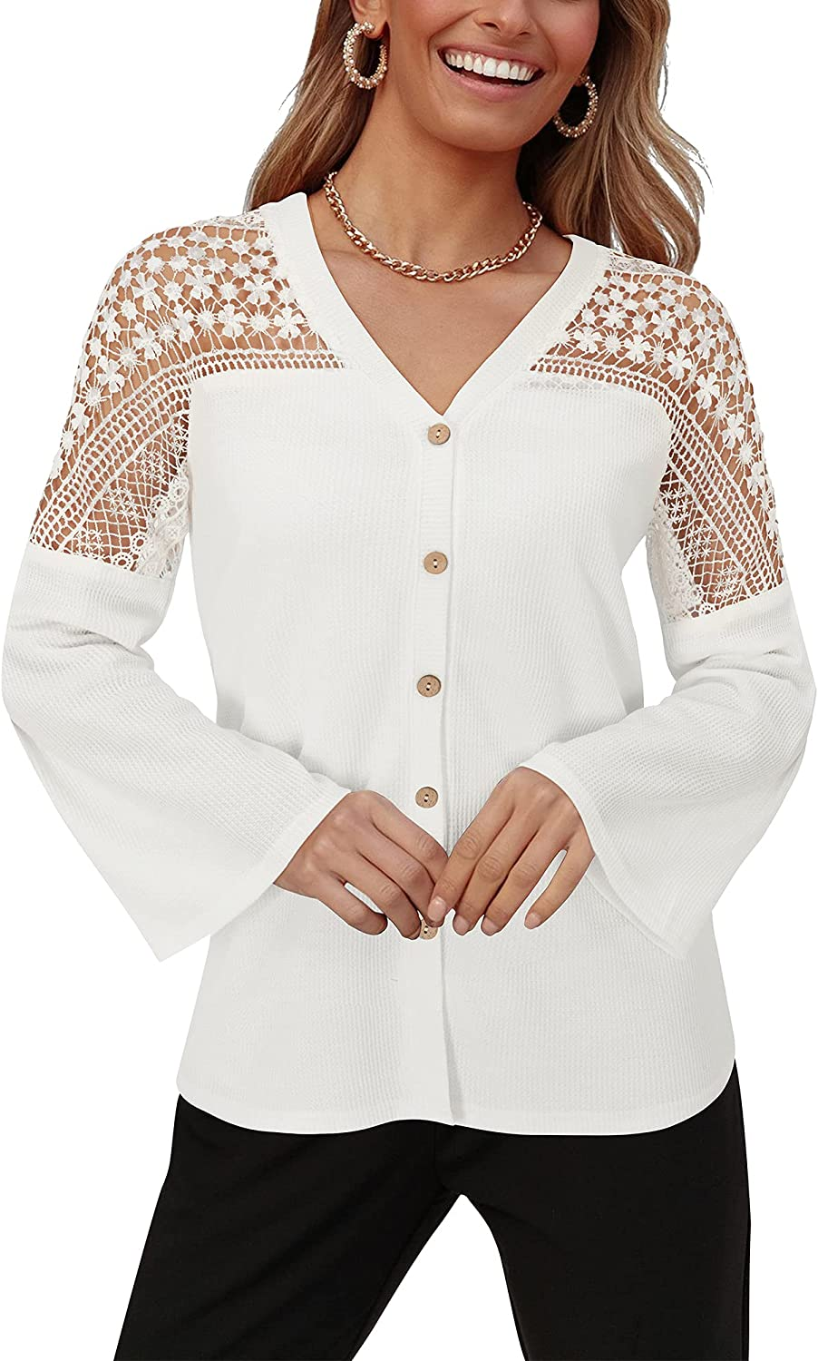 OUGES Womens Lace Bell Sleeve V Neck Tops Casual Button Down Shirts Loose Blouses