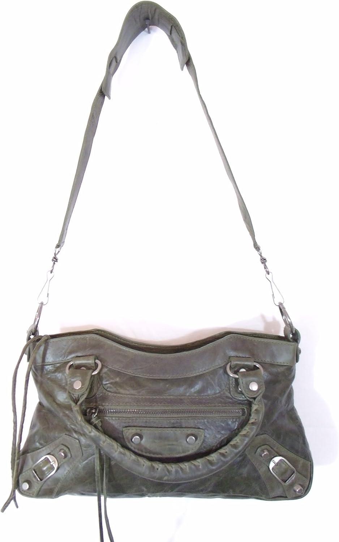 Bruno Green Leather Luxury Italian Handbag Tote Purse