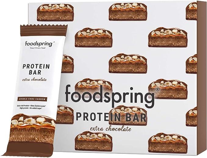 475 opinioni per foodspring Barretta Proteica Extra Cioccolato, Doppio Cioccolato e Anacardi,