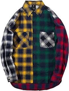 LifeHe Men Women Plaid Shirts Colour Block Long Sleeve Button Up Jackets Oversized