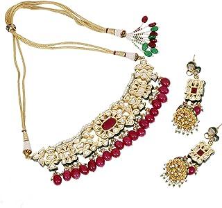 SANARA Indian Bollywood Gold Plated Exclusive Ruby Pearl Drop Kundan Choker Necklace Earring Set Women Wedding & Partywear...