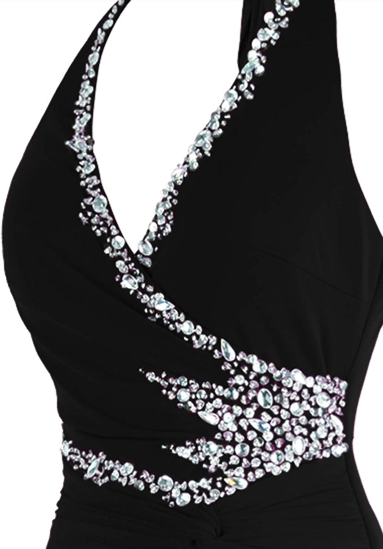 Angel-fashions Women's Halter V Neck Beading Slim Long Black Dress