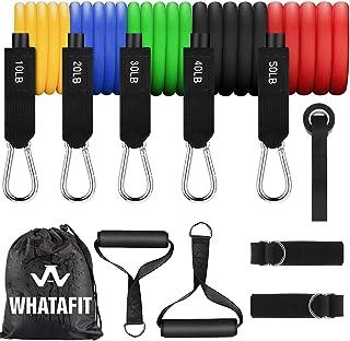 Whatafit Resistance Bands Set (11pcs), Exercise Bands with Door Anchor, Handles, Waterproof Carry Bag, Legs...