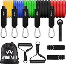 Whatafit Resistance Bands Set (11pcs), Exercise Bands with Door Anchor, Handles, Waterproof Carry Bag, Legs Ankle Straps f...