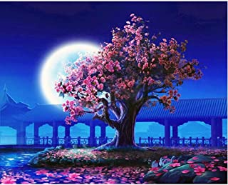 SUBERY DIY Oil Painting Paint by Numbers Kits for Adults Kids Beginner - Peach Pavilion in The Evening 16x20 inches (Frame...