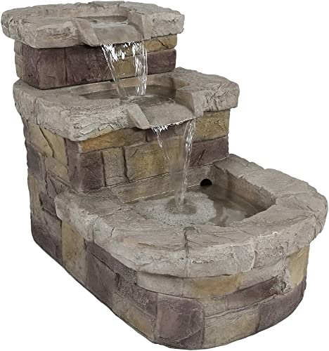 lowest Sunnydaze 3-Tier new arrival Brick 2021 Steps Outdoor Water Fountain, Patio and Garden Waterfall Feature, 21 Inch outlet online sale