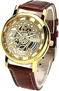ROYAL STEP Transparent Analog Gold Dial Brown Strap Men's & Boy's Watch