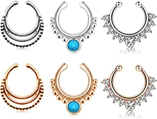 AVYRING Fake Nose Septum Rings Hoop Clip On Nose Septum Ring Faux Non-Pierced Nose Lip Rings Earrings Jewelry 3 Style