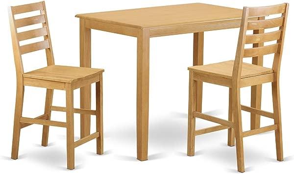东西家具 YACF3 橡木 W 3 件柜台高度桌子和 2 个餐椅套装