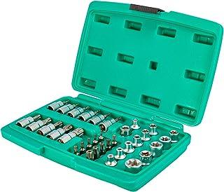 Duży zestaw kluczy nasadowych i bitów do śrub TORX 34-częściowy – 3/8 cala ze stali chromowo-wanadowej firmy WIESEMANN 189...