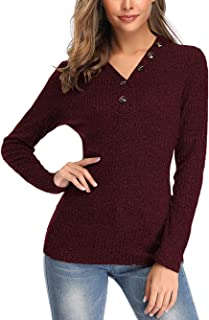 Voopptaw Henley Sweaters for Women Long Sleeve V Neck Ribbed Button Knit Sweater Solid Blouse Pullover Tops