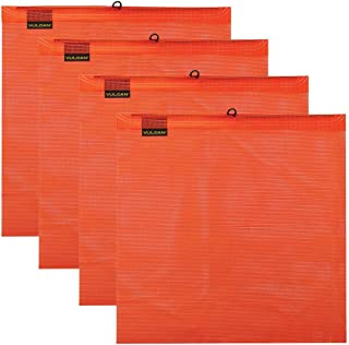 Vulcan Brands Bright Orange Safety Flag with Wire Loop for Wide and Oversize Load Marking On Moving Vehicles (18'' x 18'' - Vinyl Coated Polyester Construction - 4 Pack)