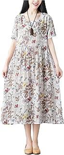 [アルトコロニー] レトロ 花柄ワンピース ロング丈 半袖 uネック 切り替え 可愛い 着痩せ リゾート M ~ XL レディース