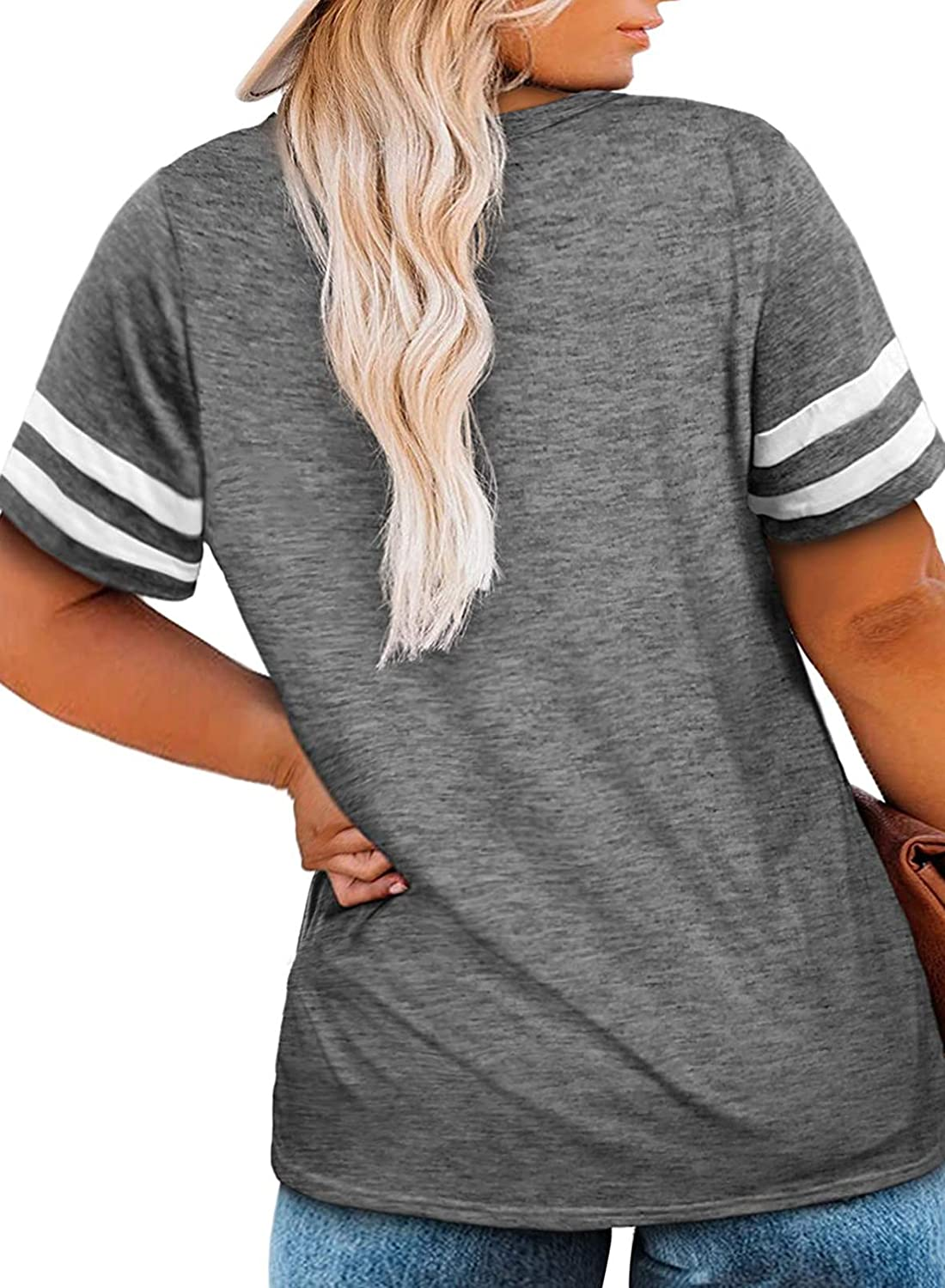 Happy Sailed Womens Plus Size Tunic Tops Summer Short Sleeve V Neck/Crew Neck Loose Casual Tee Shirt(1X-5X)